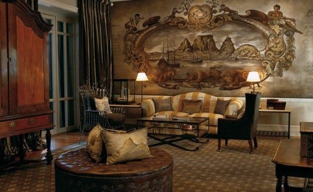 @Cape Grace Hotel's #Reception Area with Hand-painted Mural.