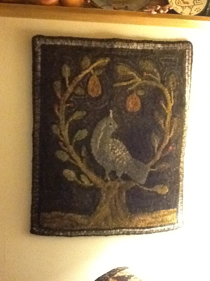 Primitive hooked rug - Original Partridge in a Pear Tree