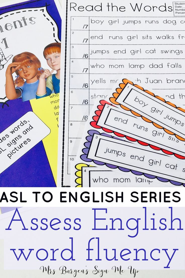 ASL TO ENGLISH series Set 1 and 2   Assess English Word Fluency