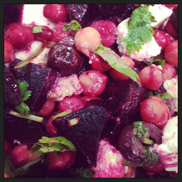 Roasted beetroot coriander (cilantro) chickpea fetta and olive salad #meatless #mondays #vegetarian #healthy