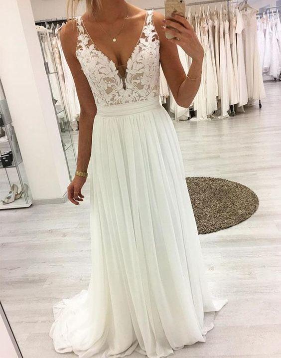 White v neck lace chiffon long prom dress, white lace evening dress