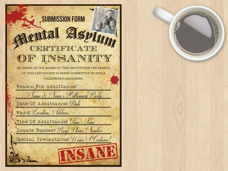 Digital Download Mental, Lunatic, Insane Asylum Halloween, Horror Event Invitation, Submission Form, Application Form, Adults, Customisable by DesignsByMoniqueAU on Etsy