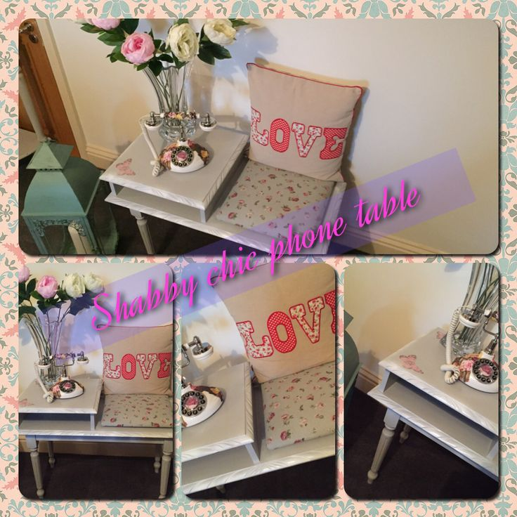 A shabby Chic phone table, painted in grey and reupholstered. Check out shabby chic in Laois on Facebook.