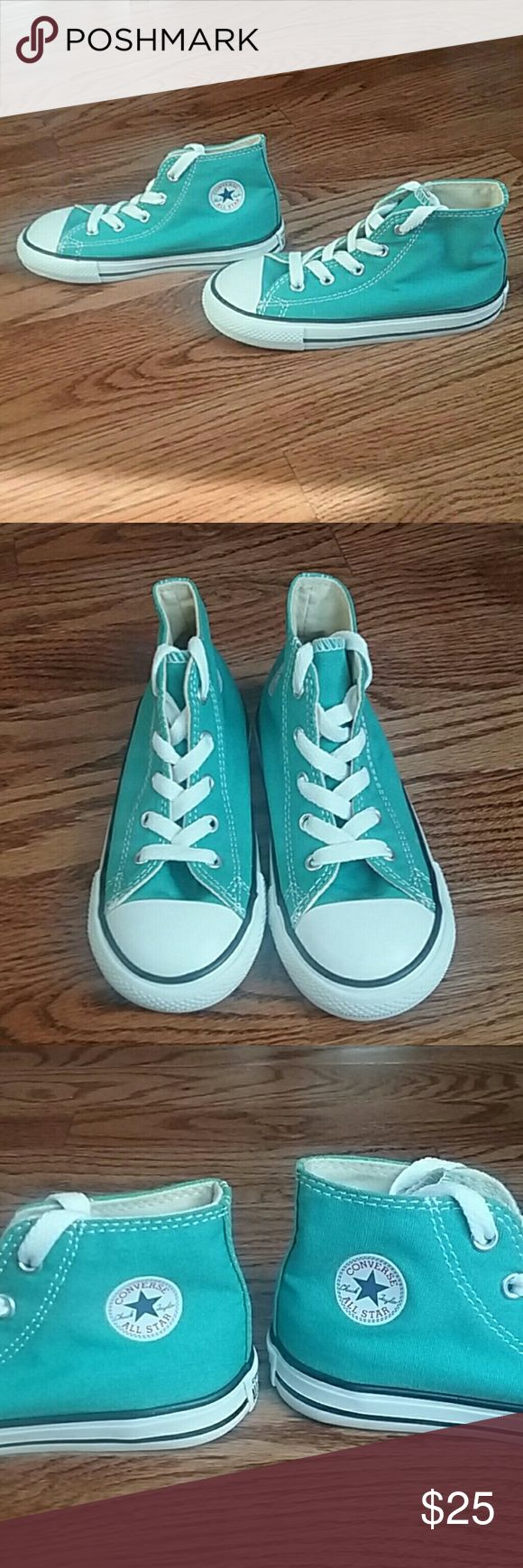 NEW Converse All star teal toddler size 10 Brand New without tags. Toddler size 10 converse all stars sneakers for boys or girls in an amazing teal aqua blue color! Lace up ties. Converse Shoes Sneakers