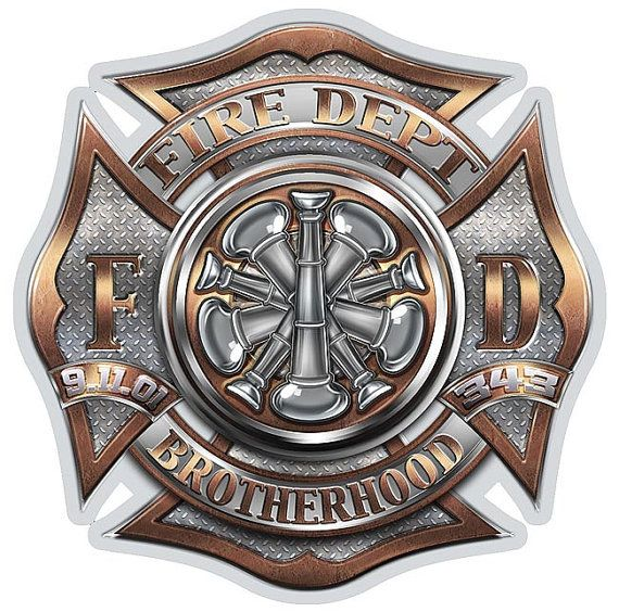 Fire Dept Brotherhood Maltese Cross 5 Bugles 6 Inch by RescueTees