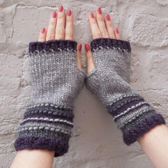 Chunky Knit Fingerless Gloves Pattern : Chunky Alpaca Wool Knitted Striped Fingerless Gloves Knit/Crochet Ideas P...