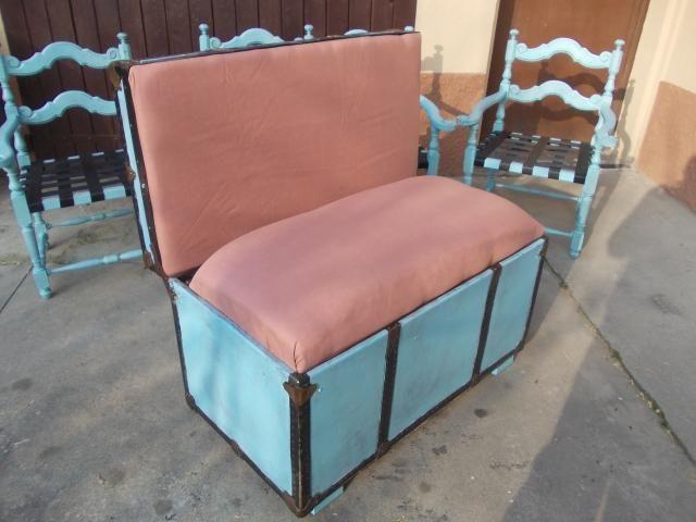 baule riciclato a divano con seduta e schienale inbottito. Pubblica anche tu le tue creazioni su www.ricicloshop.com