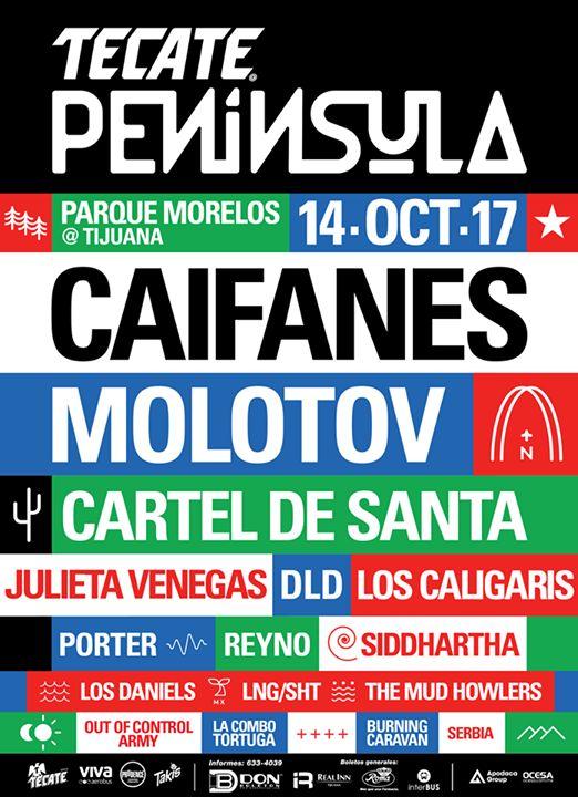 Tijuana sonará más fuerte que nunca este 14 de octubre. Esto es #TecatePeninsula  Frontera de sonidos.  Les gustó el cartel?  Boletos  disponibles a partir del 2 de junio en: Don Boleton Real Inn Tijuana Farmacias Roma e Interbus.