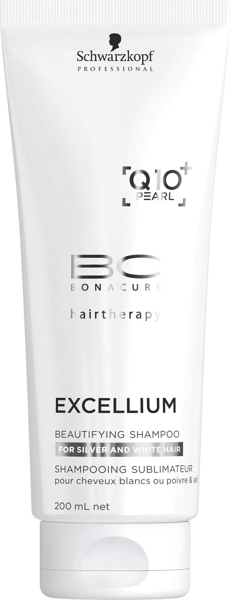 BC EXCELLIUM Q10+ GYÖNGY Beautifying hajsampon, 200 ml Minden natúr ősz haj tisztítására. Védelmet biztosít a csúnya sárga tónusokkal szemben. Stimulálja a keratintermelődést, ezáltal megerősíti a gyenge, vékonyszálú hajat.