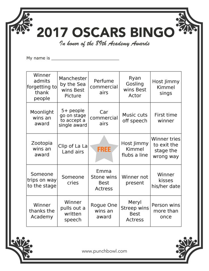 Printable Oscars Bingo. Oscars night is a wonderful reason to gather together with family and friends. To make sure everyone is included in the fun, entertain your guests with Academy Awards party games and contests!