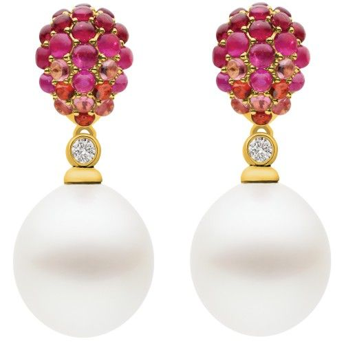 Evocative of the shimmering sun slipping beneath the horizon, these earrings dazzle with colour and brilliance. The eye is drawn to the perfect balance of the untreated Australian South Sea pearl and pauses at the sparkling diamond separating the pearl from a bed of colour-saturated gem stones. The slight movement of the pearl emphasises its beauty and elegance. View our collection of Australian South Sea pearls at www.rutherford.com.au