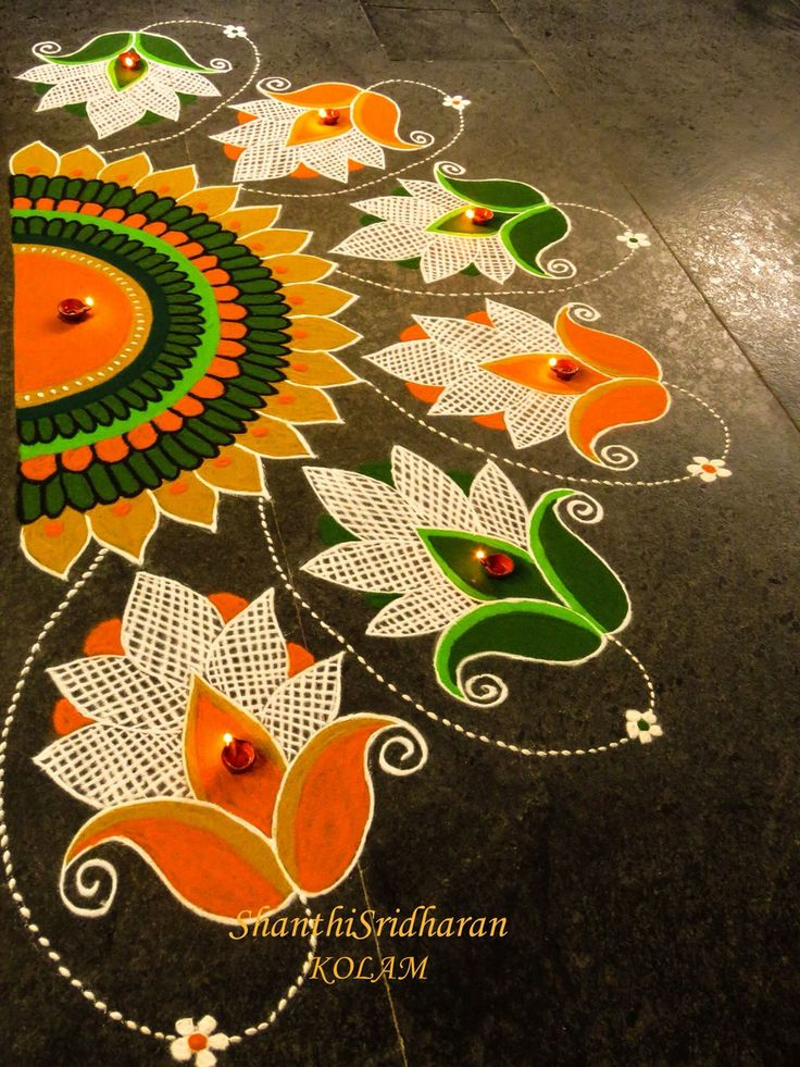 #kolam#orange#green