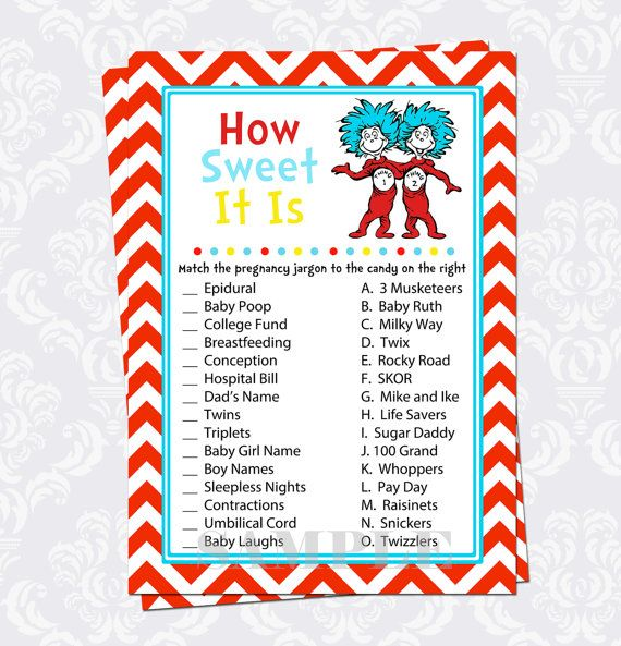 How Sweet It Is Baby Shower Game For Twins Thing 1 And Thing 2 From Dr