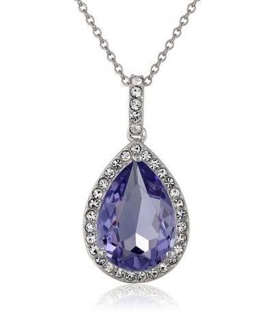 """#SALE 68% OFF Silver and #Swarovski Elements #Crystal Pear-Shape #Pendant Necklace, 18"""" List Price: $112.00 Price: $36.00 - You Save: $76.00 (68%)  https://www.facebook.com/Buyers.Digest"""