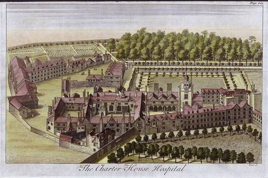 Charterhouse Hospital engraved by Toms, c.1770.  #RA