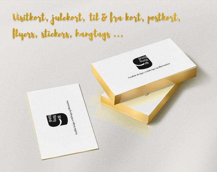 Visitkort, julekort, til & fra kort, postkort, flyers, stickers, hangtags fra Grafikbutik.dk
