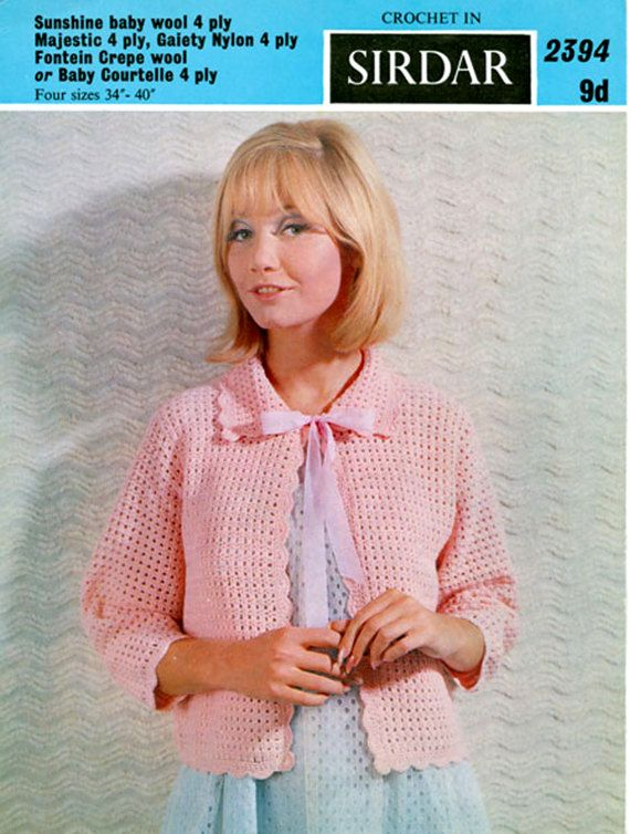PDF Vintage Womens Ladies PUSSY BOW Bed Jacket Crochet Pattern