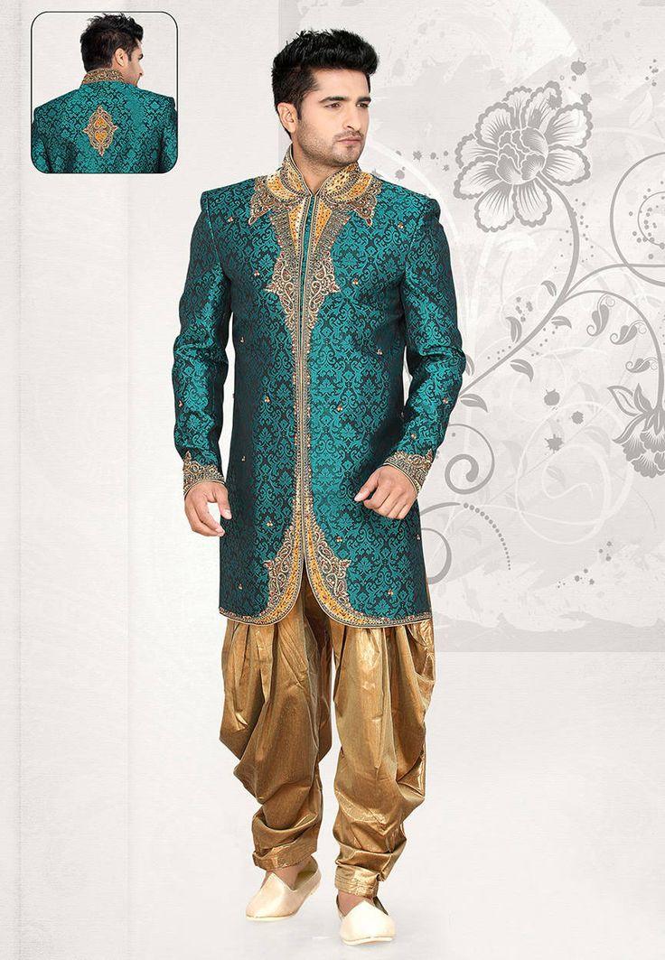 Teal Green Brocade Art Silk Readymade Sherwani with Dhoti Pant: MCD2552