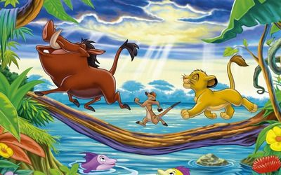 Timon, Pumbaa and Simba
