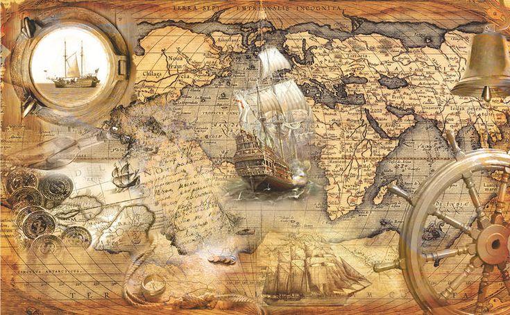 Фреска на стену, старинная карта, Тартария, корабли, ретро карта