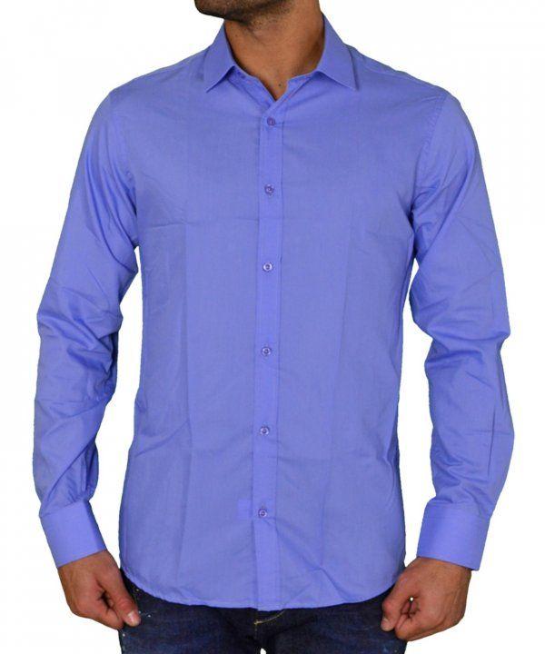 8a384a11b220 Ανδρικό μονόχρωμο πουκάμισο Gio.S σιέλ 9551W17  ανδρικάπουκάμισα  ρούχα   στυλ  ντύσιμο