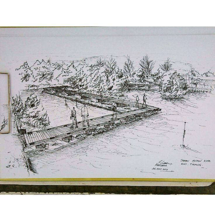 Sketsa di Taman Kota BNI, Banda Aceh. Drawing Pen 0,1 dan 0,3