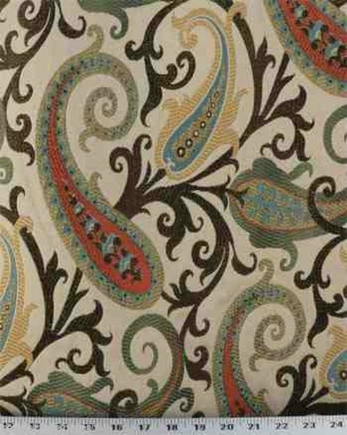 colorful jacquard paisley floral traditional drapery upholstery Jewel fabric