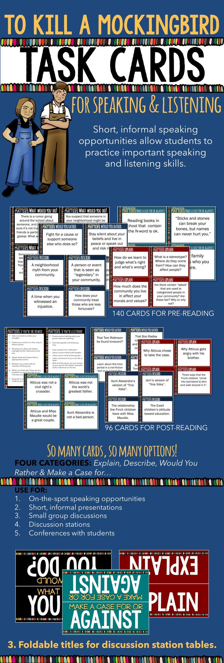 best images about to kill a mockingbird gcse to kill a mockingbird speaking listening task cards