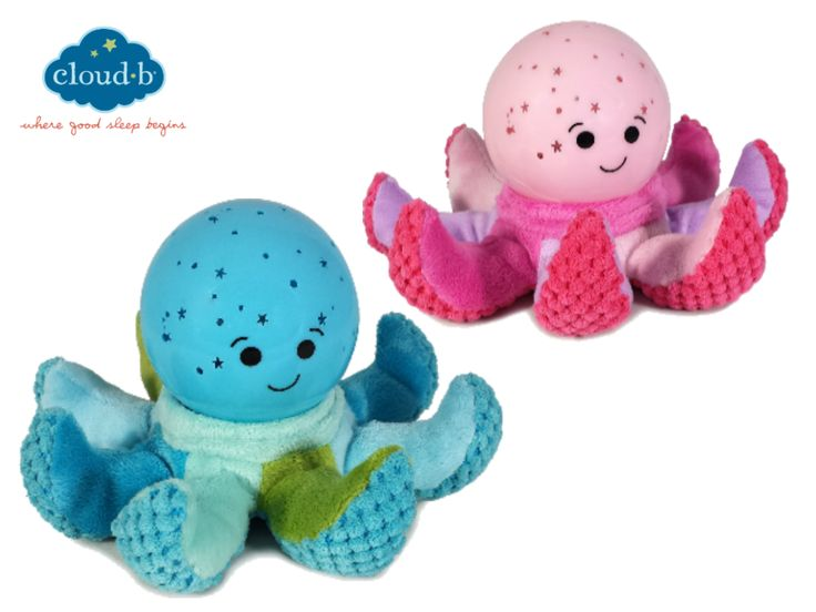 Octo Softeez™ - Den första Cloud b globlampan som är både mjuk och hård. Den kan snuttas med, eller ligga på nattduksbordet medan den lyser söta fiskar och bubblor. Den finns i både blå och rosa.