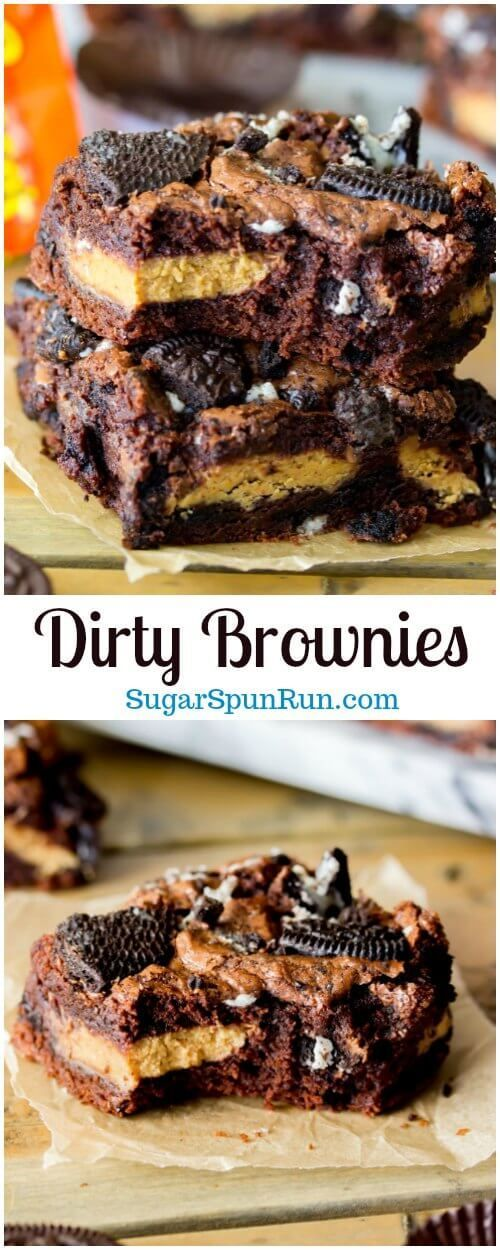 Dirty Brownies — Peanut Butter Cup Oreo Brownies via @sugarspunrun