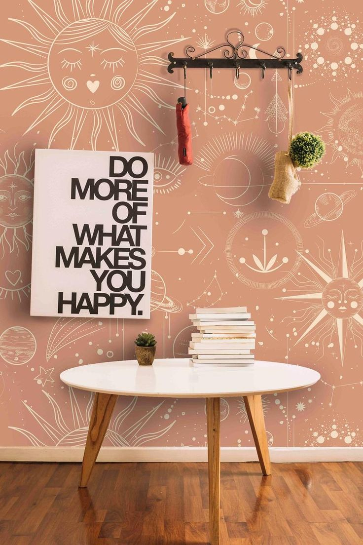 Moon Phases on Peach Background Wall Covering Removable