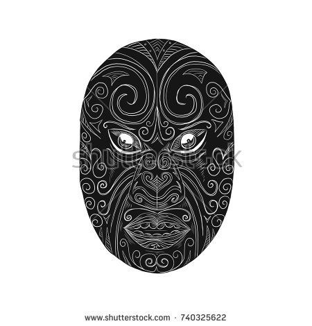 Scratchboard style illustrationoftheday of a Maori mask looking fierce with mouth open and eyes protruding done on scraperboard on isolated background.  #Maori #mask #scratchboard #illustration