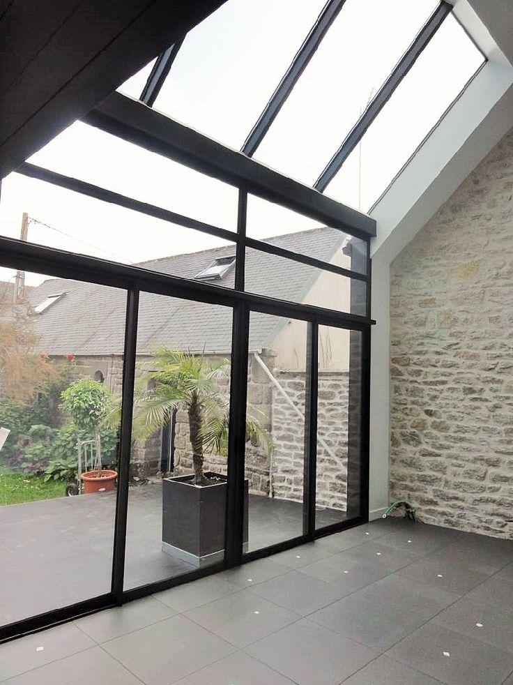 grande verri re mur et plafond sur une maison traditionnelle bretonne r nov e maison. Black Bedroom Furniture Sets. Home Design Ideas