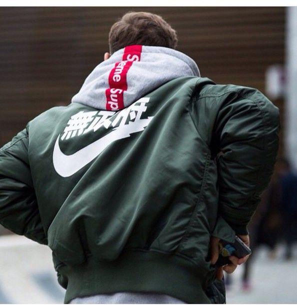 jacket bomber jacket menswear mens jacket nike chinese writing KYC VINTAGE RARE