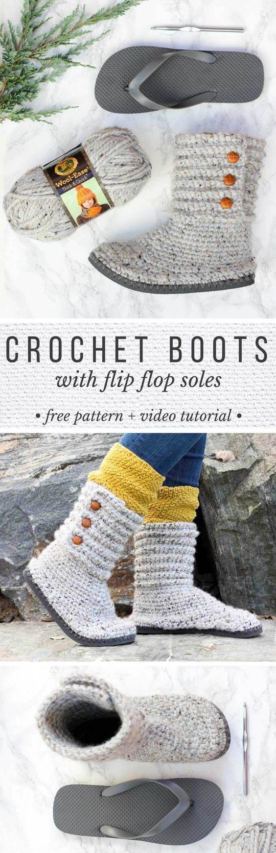 Diese DIY Häkeln Stiefel mit Flip-Flops für Sohlen machen ausgezeichnete Pantoffeln oder UGG artigen Pullover Stiefel in der Stadt zu tragen. Klicken Sie für die kostenlose Muster und gründliche Video-Tutorial. Diese machen einen großen Häkeln Weihnachtsgeschenk !: