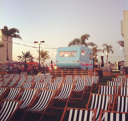 Rooftop Movies in Northbridge complete with pink flamingoes and striped deck chairs!