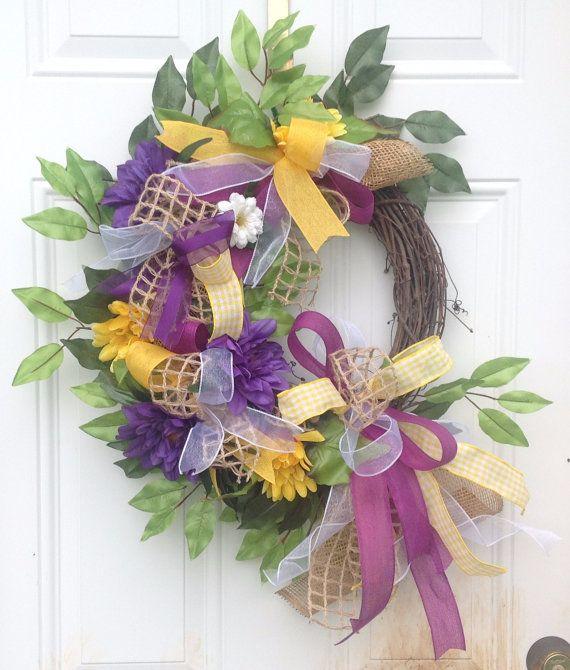 Purple Spring Wreath Burlap Ribbon Wreath by KaylasKreationsTX