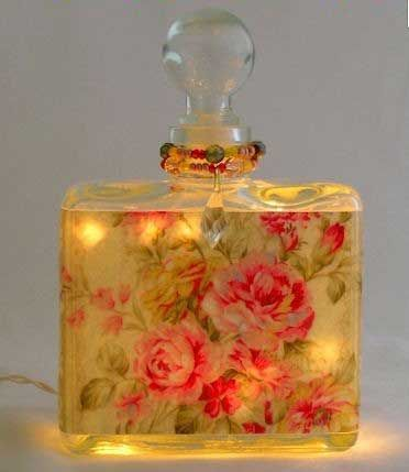 ❤ take old perfume bottles and decoupage or use lovely stickers...