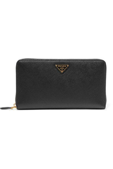 PRADA classy Travel textured-leather continental wallet