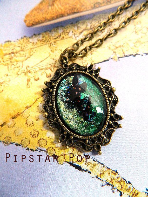Meteror Shower Green iridescent pendant on vintage by PipStarPop, $16.00