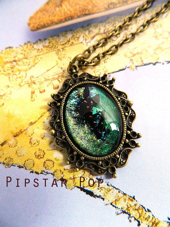 Meteror Shower Green iridescent pendant on vintage by PipStarPop, $16.00