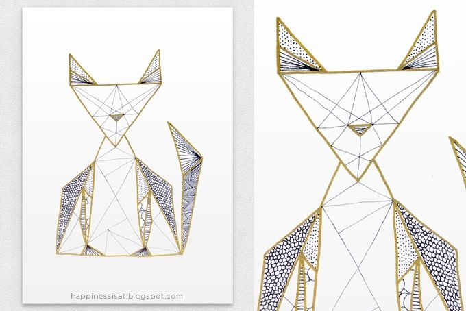 Black and Gold Geo Cat by Happiness is...