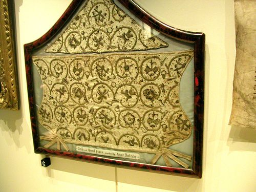 Tower of London: Anne Boleyn's needlework. Interesting fact that Henry VIII said his ex-wife Catherine of Aragon sewed better than Anne did and comparing to her Anne did not know how to sew. If is so than how high was the level of Catherine's art, I wonder?
