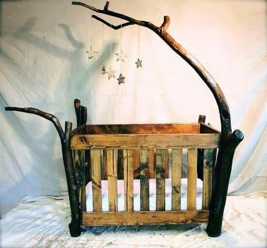 Rustic Log Baby Crib by One Day.