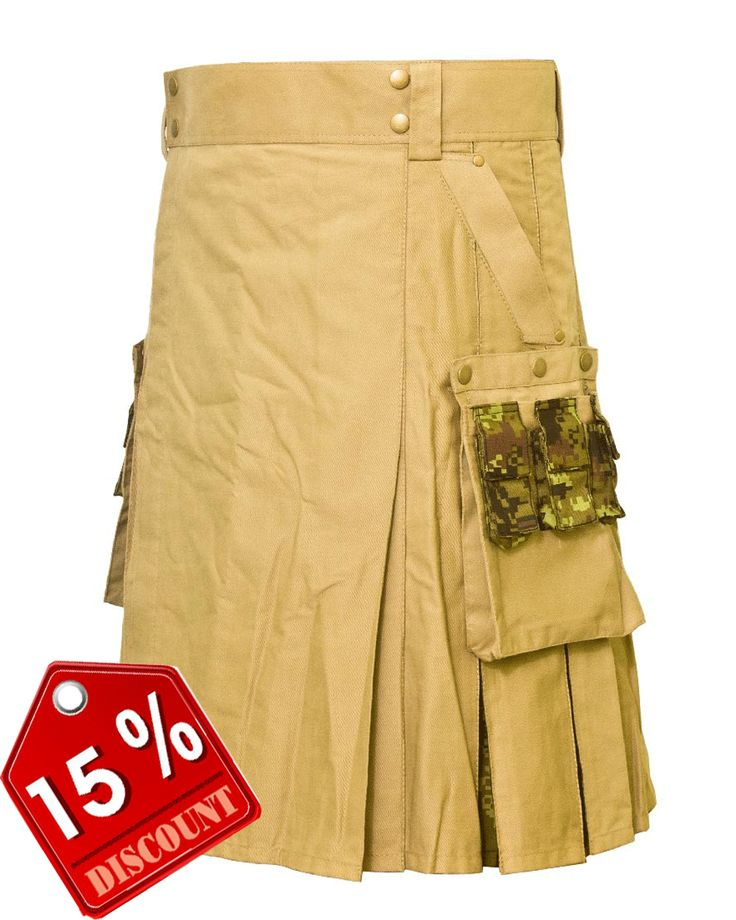 Khaki Box pleated #Kilt with Style #Camo #Pockets Our handmade kilts are built to last and will withstand any manly task you put them up to. The style is traditional with added functionality. The custom #button placement and #buckle closure give our kilts a unique flare you won't find anywhere else. #RoyalKilt Visit our online kilt shop we offer most authentic and latest. http://royalkilt.com/kilts/modern-kilts/stylish-tactical-kilt.html