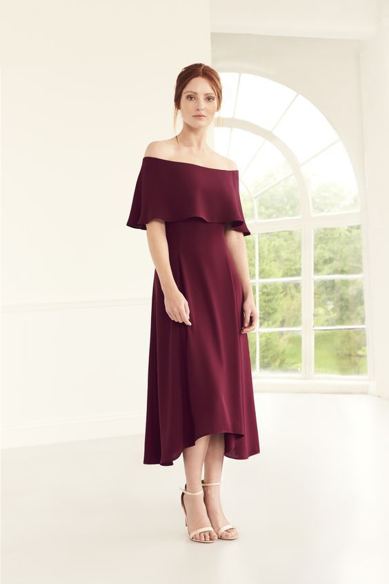 Merlot off the shoulder bridesmaid dress from Coast