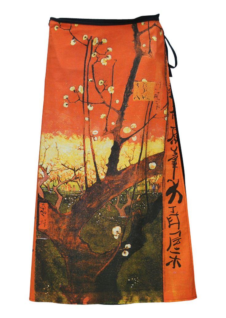 Art Wrap Skirt Orange Blossoms