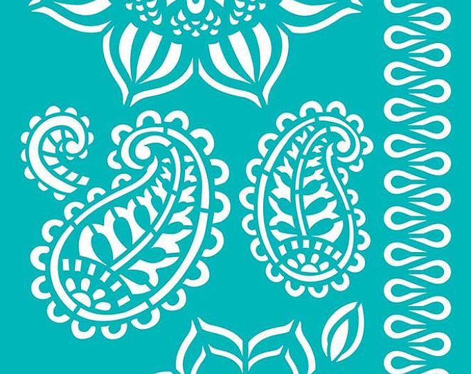 Stencil, Paisley stencil, Reusable, Adhesive, Flexible, for polymer clay, fabric, wood, glass, card | MANDALA PAISLEY LEAVES | 8 inch/20.5cm