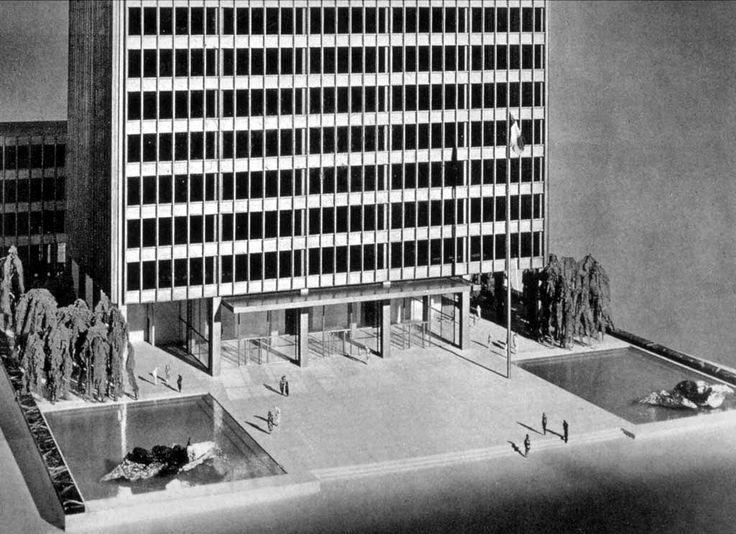 """v-architecture-photos: """"Mies Van Der Rohe and Johnson's model for the Seagram Building in 1956, New York """""""