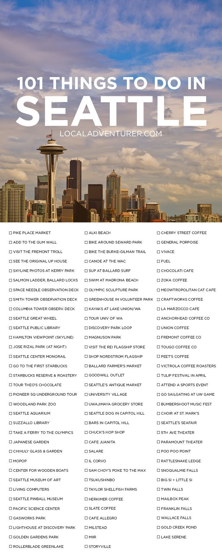 101 Things to Do in Seattle Washington { click through to get the printable version } - the Ultimate Seattle Bucket List - from the popular spots everyone has to do at least once to the spots a little more off the beaten path. // :